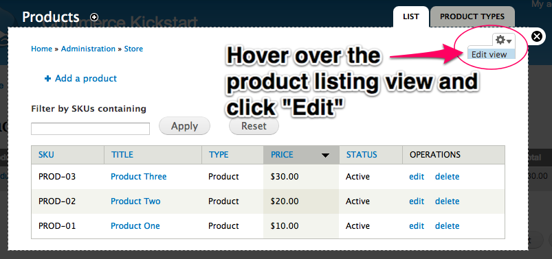 Hover over the product listing view and click Edit