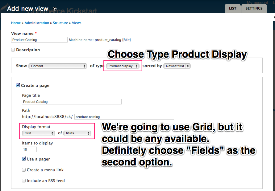 Choose Type Product Display and use Grid, Fields.