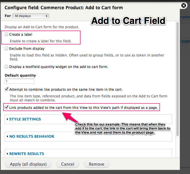 Add to Cart Field, leave off the label and check the link products towards the bottom.