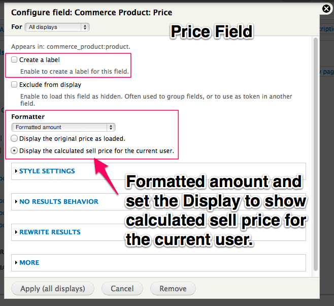 Leave off the label, set the formatted amount and display to show calculated sell price.
