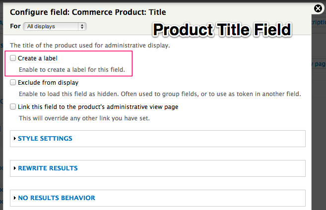 Product title field