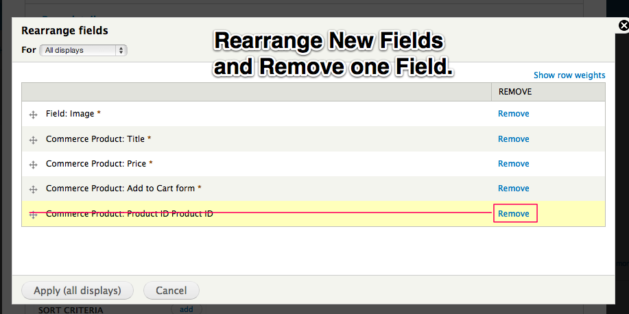 Rearrange New Fields and Remove one Field
