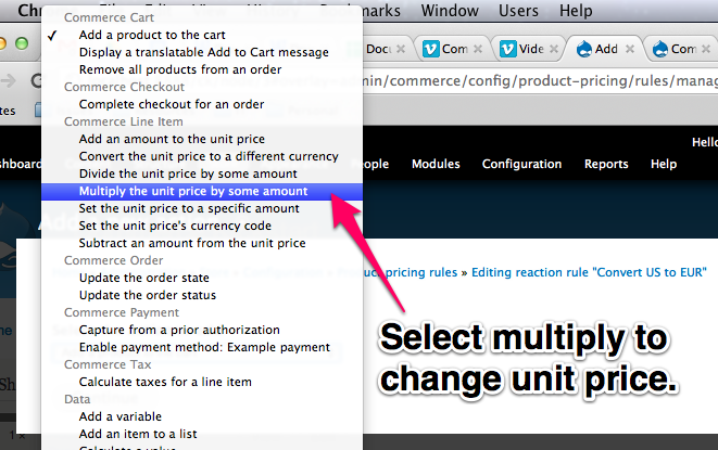 Select multiply to change the unit price.
