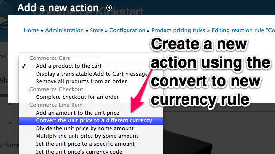 Create a new action using the convert to new currency rule.