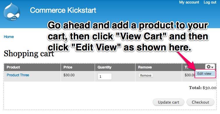 Go ahead and add a product to your cart, then click View Cart and then click edit view as shown here.