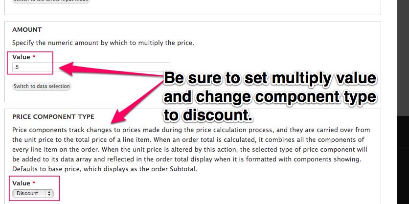Be sure to set multiply value and change component type to discount.