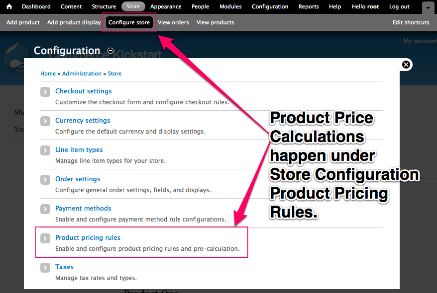 Product Price Calculations happen under store configuration product pricing rules
