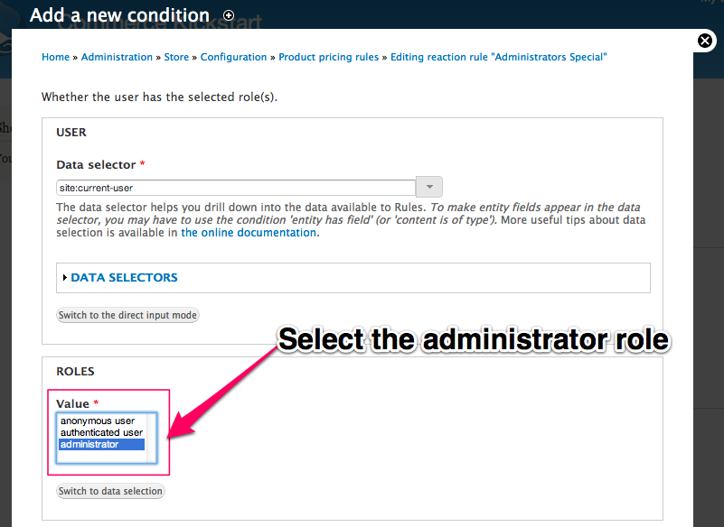 Select the administrator role.