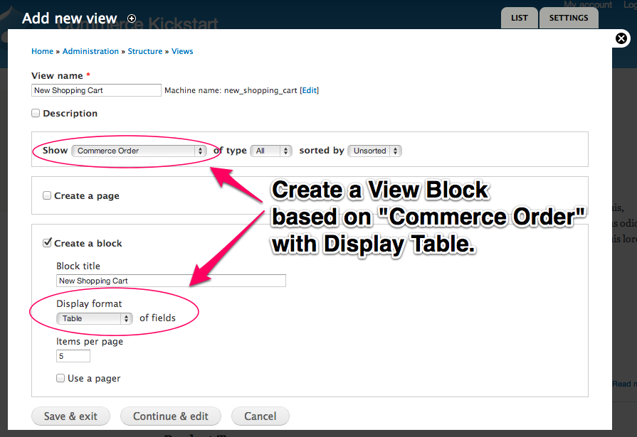 Create a         View block based on Commerce Order with Display Table