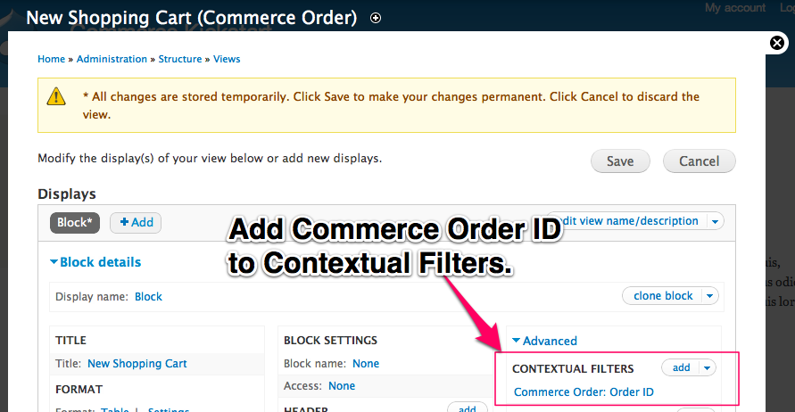 Add Commerce         Order ID to Contextual Filters
