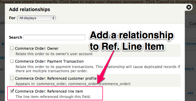 Add a         relationship to Reference Line Item