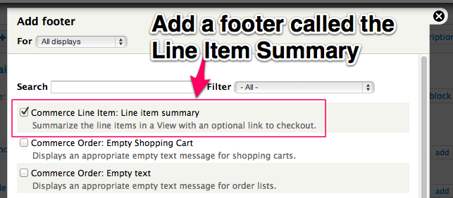 Add a Footer called the Line Item Summary