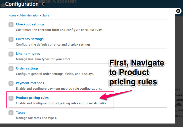 First, Navigate         to Product pricing rules