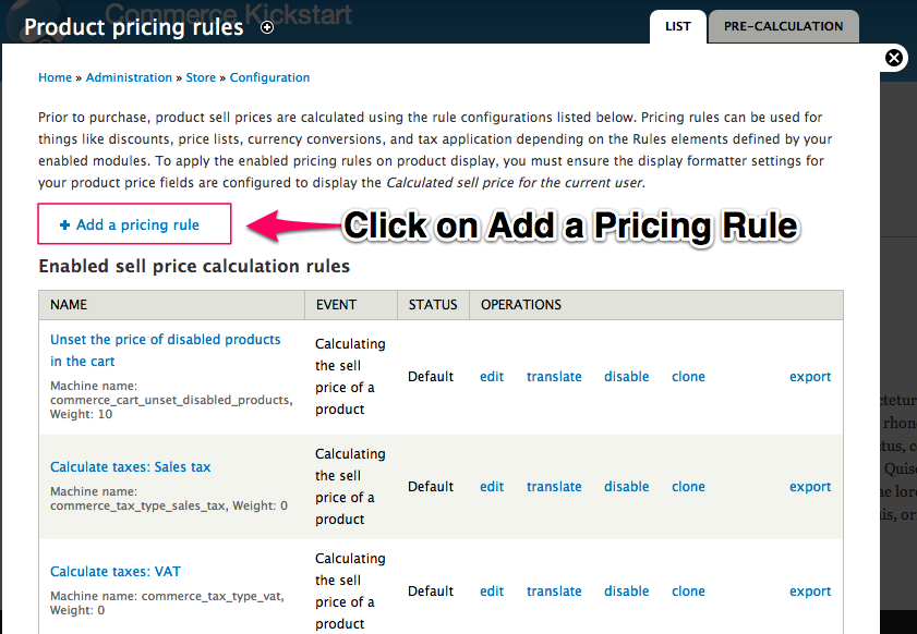 Click on Add a         Pricing Rule and Add event