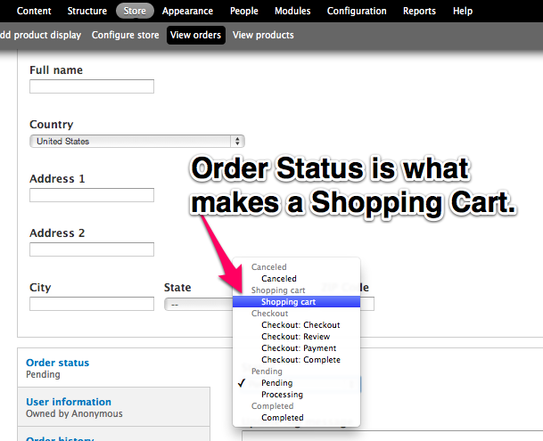 Order         Status for Shopping Carts