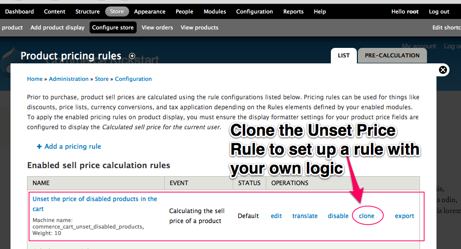 Clone         the unset price rule to set up your own rule with your own logic