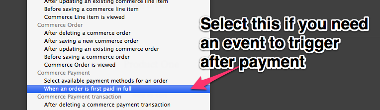 Select this if you need an event to trigger after payment.