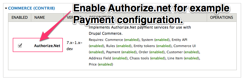 Enable Authorize.net for example On-Site Payment configuration.