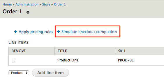 Simulate Checkout Completion screenshot