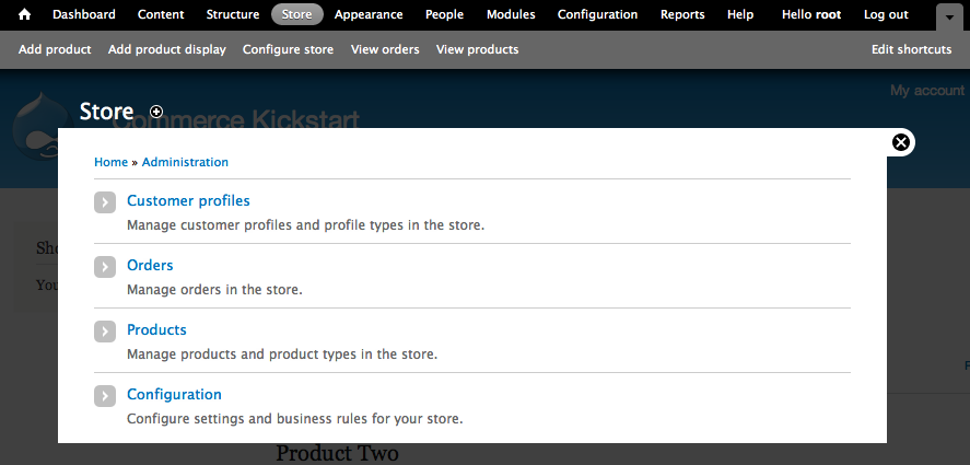 Drupal Commerce Store         Administration Screen.