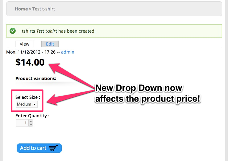 The final page shows us a drop down that affects the price.