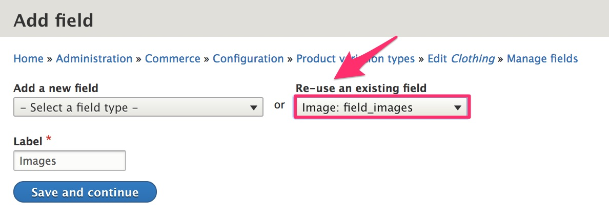 Re-use existing Images field