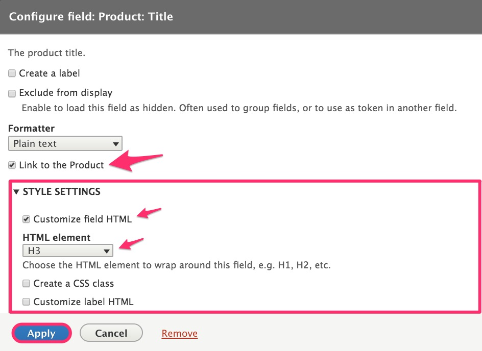 Product title field configuration