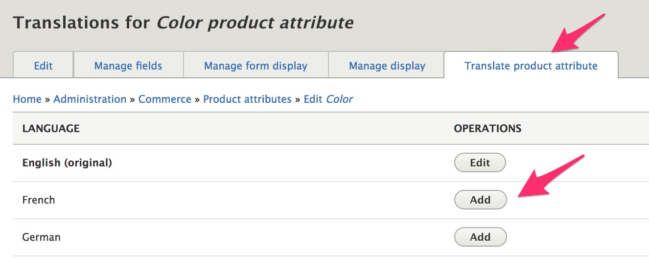 Enter product attribute translations