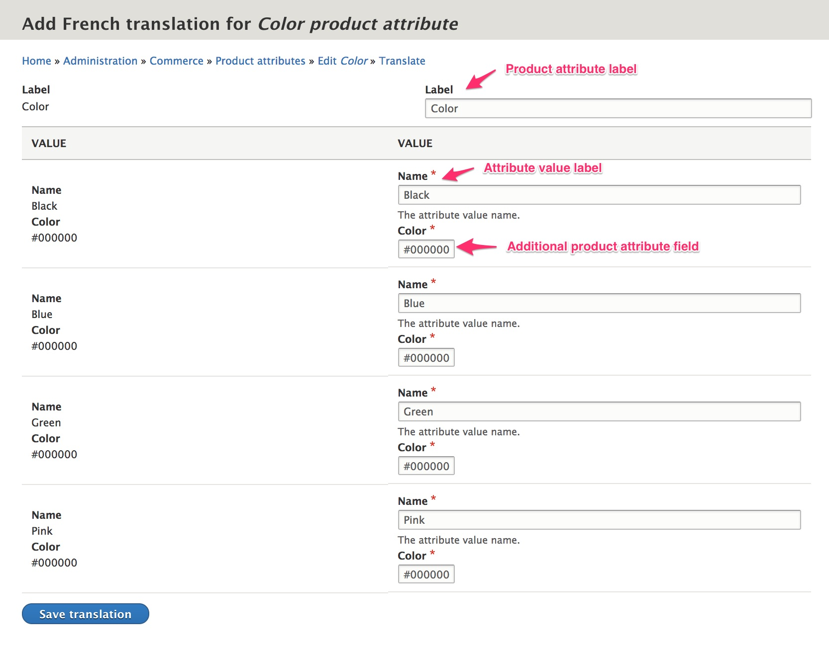 Add product attribute translations