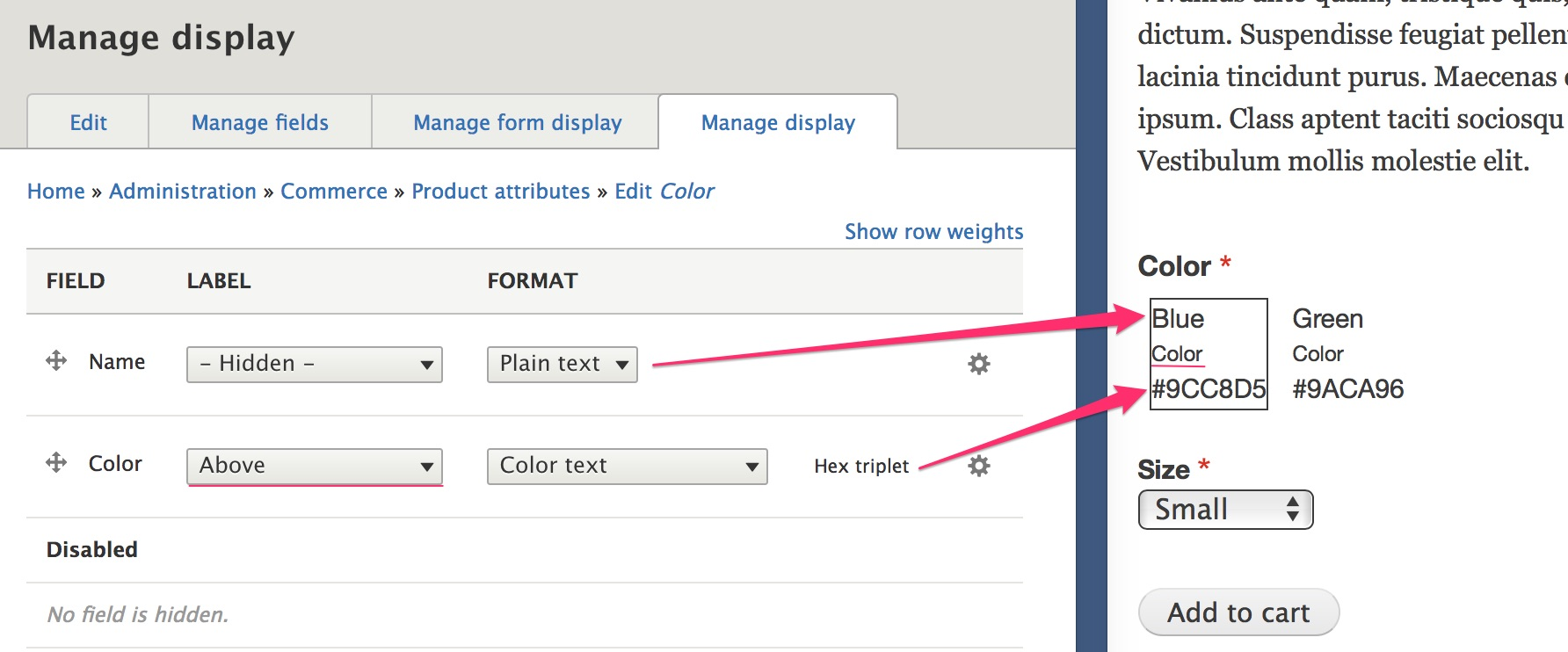 Color attribute manage display ui