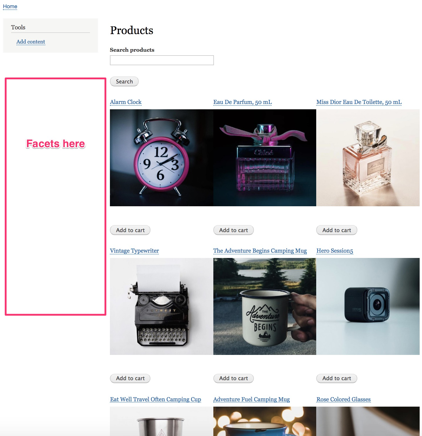 Product catalog without facets