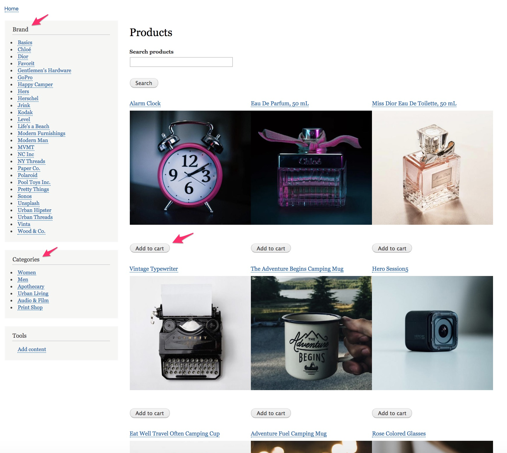 Product catalog with facets | Drupal Commerce documentation