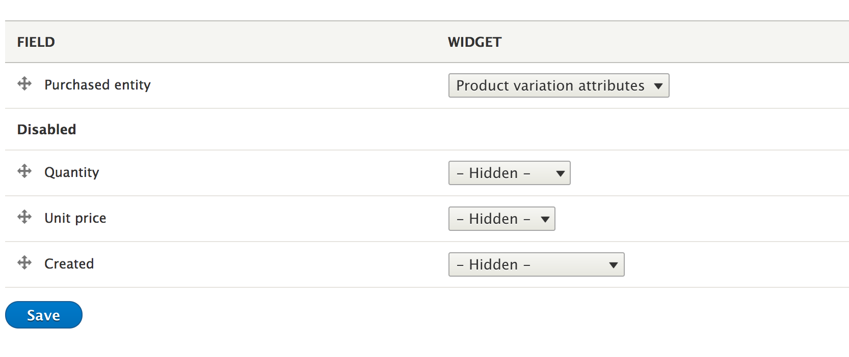 Product catalog default fields