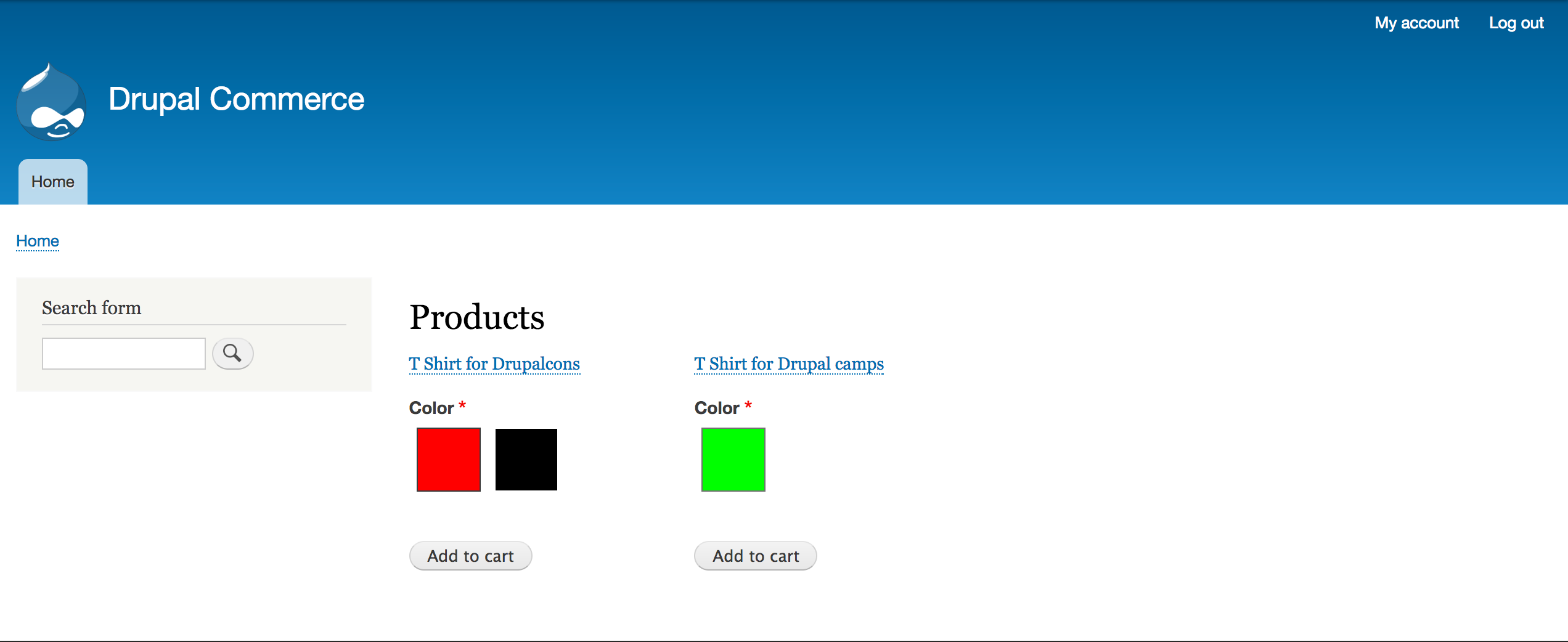 Product catalog page