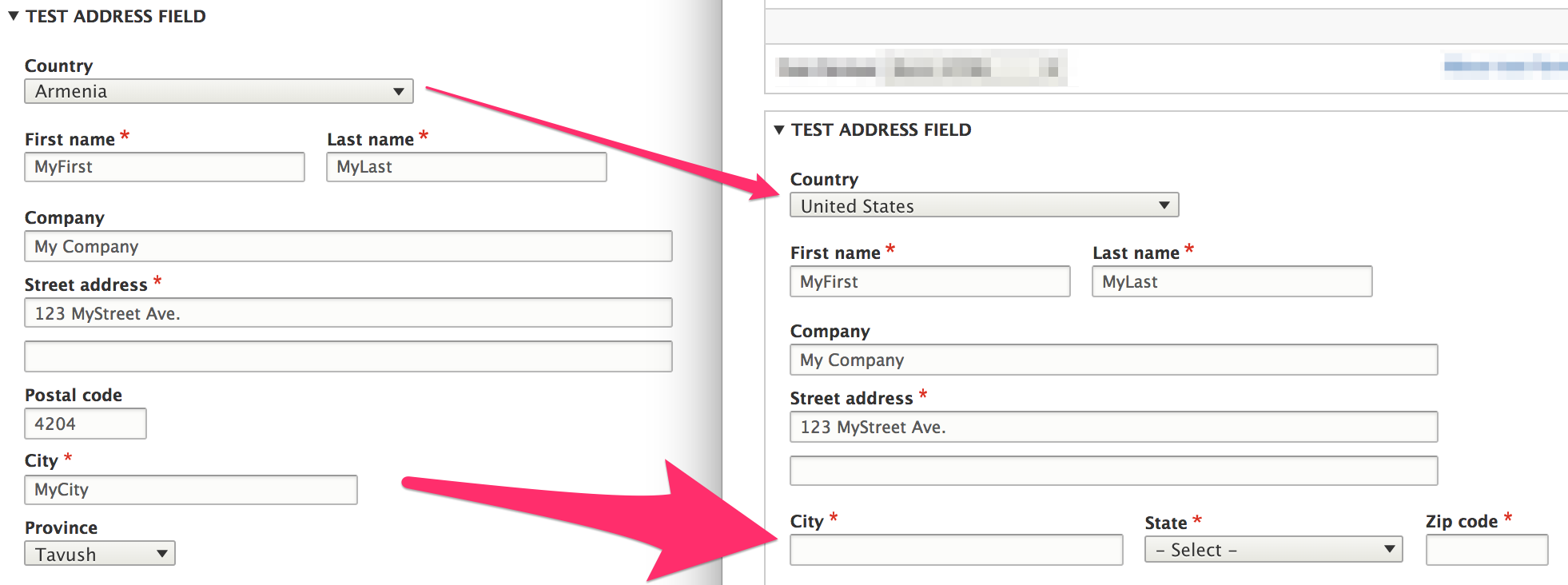 Country-specific address formatting