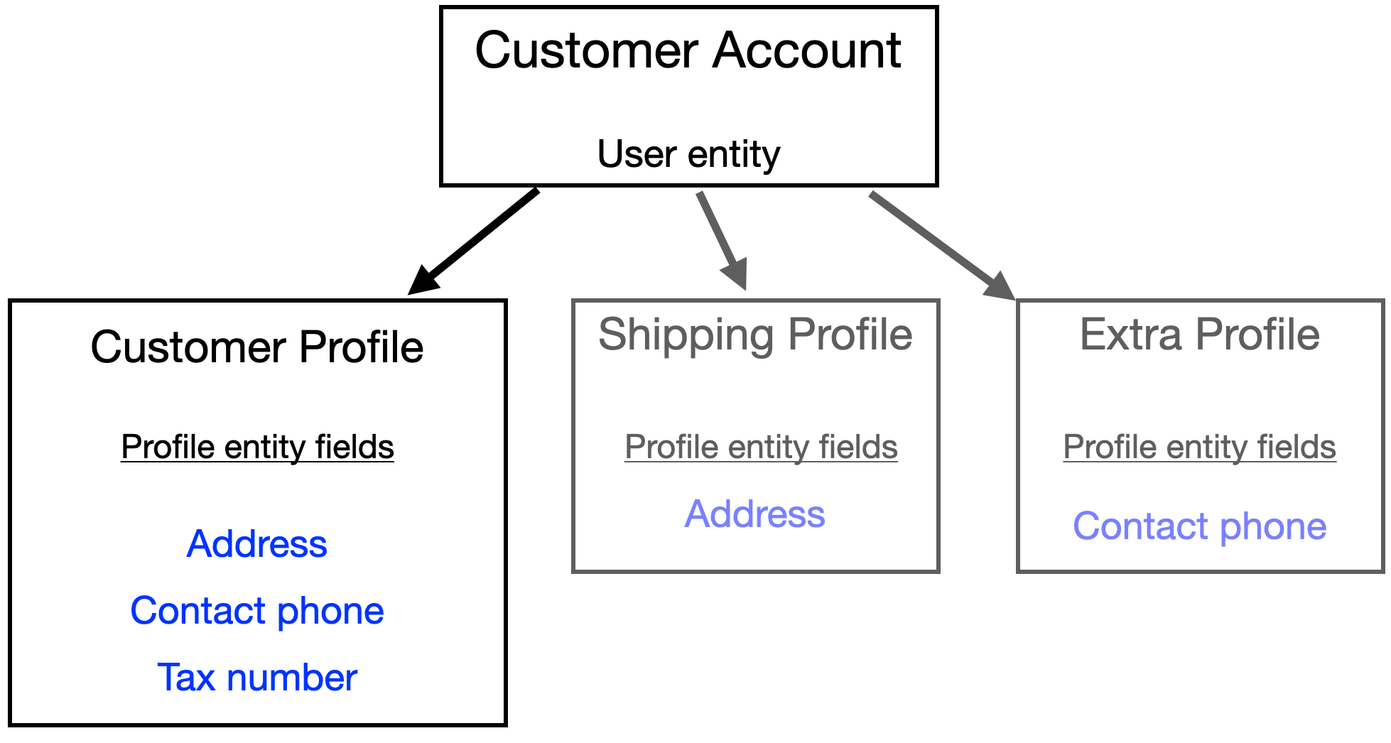 Data model for Customer accounts and Profiles