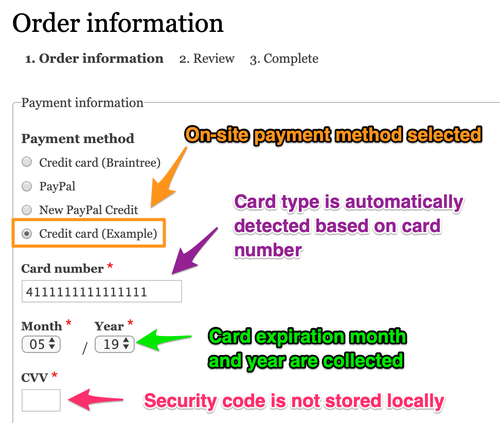 Payment method fields