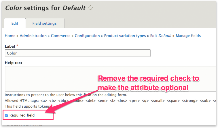 Un-select the required checkbox
