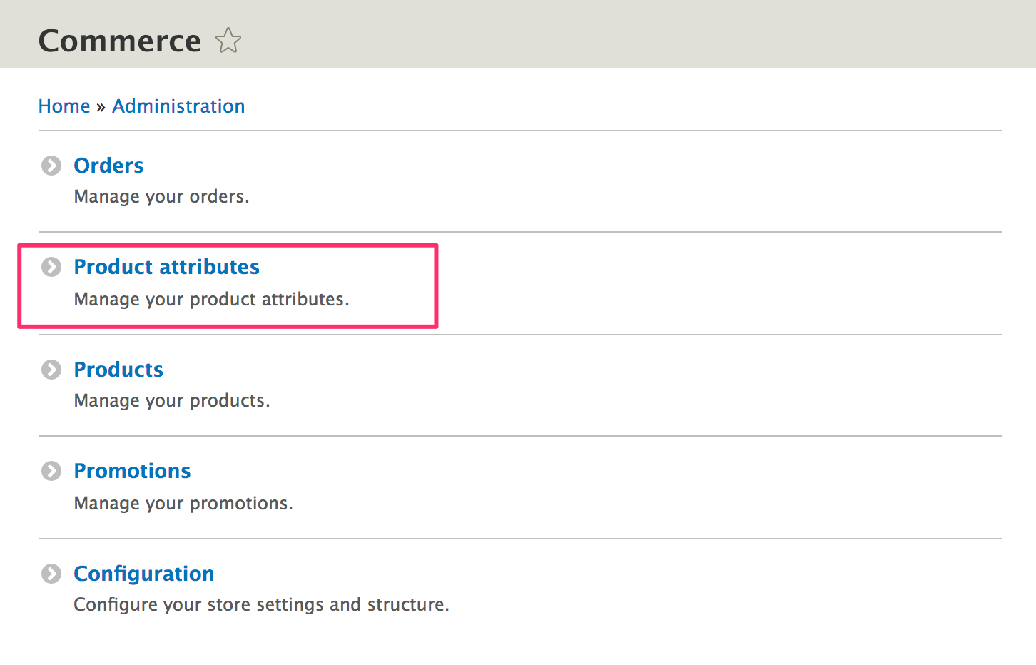 Product attributes from administration page