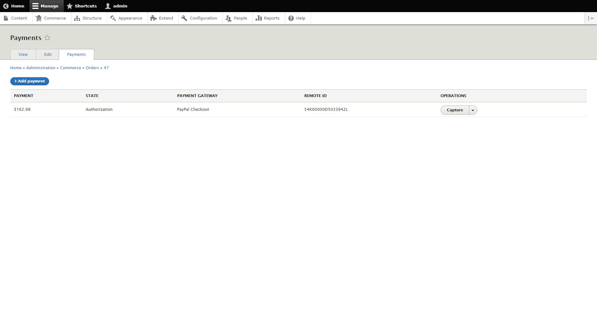 Pagina dei pagamenti (pre-acquisizione)