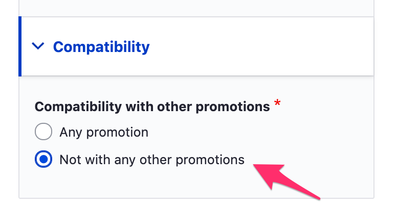 Promotions compatibilty options